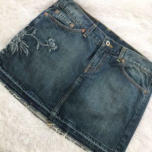 Lucky Brand Embroidered Blossom Minnie Jean Skirt